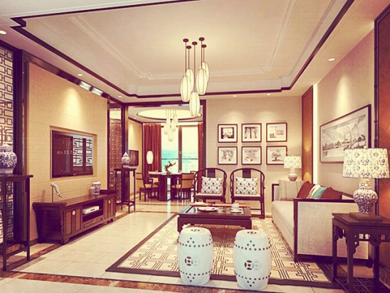 【装饰图片】中式客厅装修效果图大全2021图片